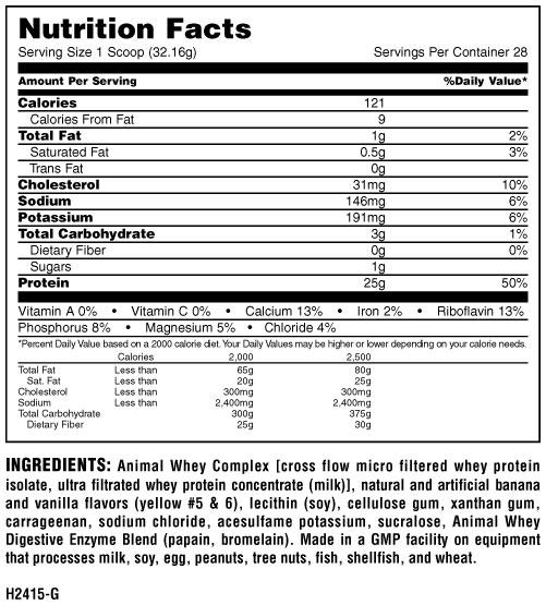 Informatii nutritionale Animal Whey 900 gr